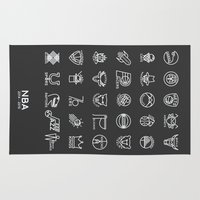 nba Area & Throw Rugs featuring NBA Team logos (white) by Will Wild