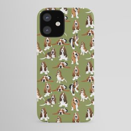 Basset Hounds on Green iPhone Case