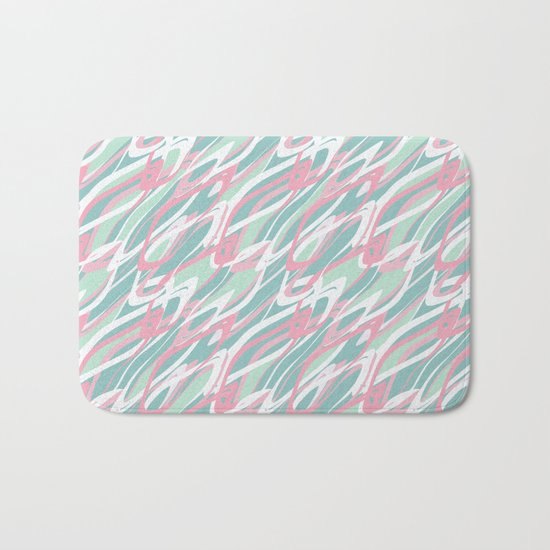 Abstract pink turquoise waves . Bath Mat