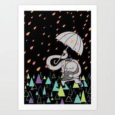 Running From The Rain Art Print