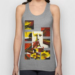 Face on Yellow Crying Red Unisex Tank Top