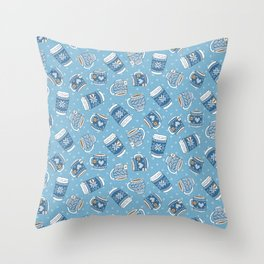 Cozy Blue Mugs Throw Pillow