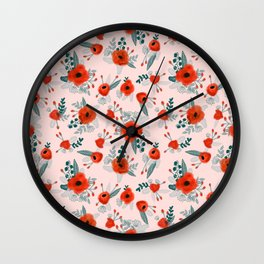 Poppy flower painted pattern floral florals prints poppies red Wall Clock