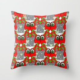 Festive Owl Throw Pillow