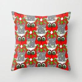 Festive Owl Throw Pillow