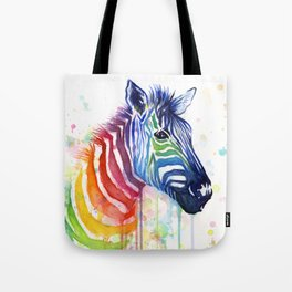 Zebra Rainbow Watercolor Whimsical Animal Tote Bag
