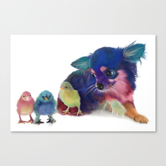 Chihuahua and Chicks Canvas Print