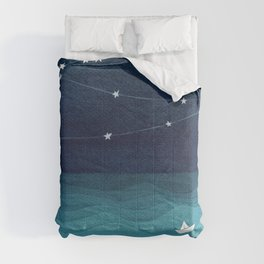 Garlands of stars, watercolor teal ocean Comforters