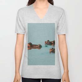 HIPPOS COOLING OFF IN THE DAM Unisex V-Neck