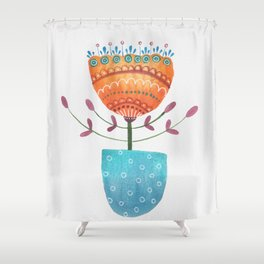 Day 25 Watercolor Flower Shower Curtain