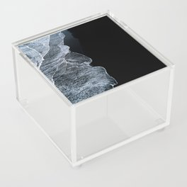 Waves on a black sand beach in iceland - minimalist Landscape Photography Acrylic Box