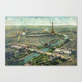 Vintage Pictorial Map of Paris (1900) Canvas Print