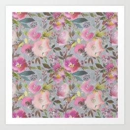 Pretty Pink Blossom Textured Dark Gray Background Art Print