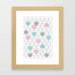 Hexagon nordic pattern Framed Art Print
