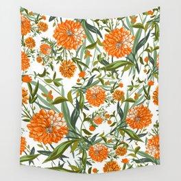 Orange Spring Summer Flowers Boho Wall Tapestry