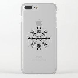 Black and White Helm of Awe | Aegishjalmur Icelandic Stave Clear iPhone Case