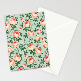 Roses on Turquoise Stationery Cards