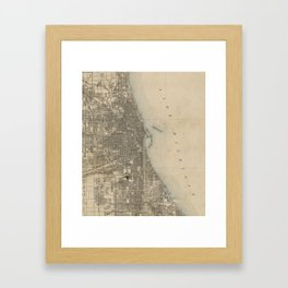 Vintage Map of Chicago (1899) Framed Art Print