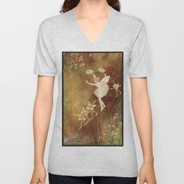"""It Was Difficult at First"" by Ida Rentoul Outhwaite (1916) Unisex V-Neck"