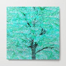 Trees Green Misty Metal Print