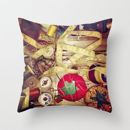 Inside the sewing box Throw Pillow