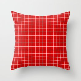 Rosso corsa - red color - White Lines Grid Pattern Throw Pillow