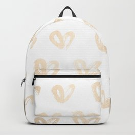 Luxe Gold Hearts on White Backpack