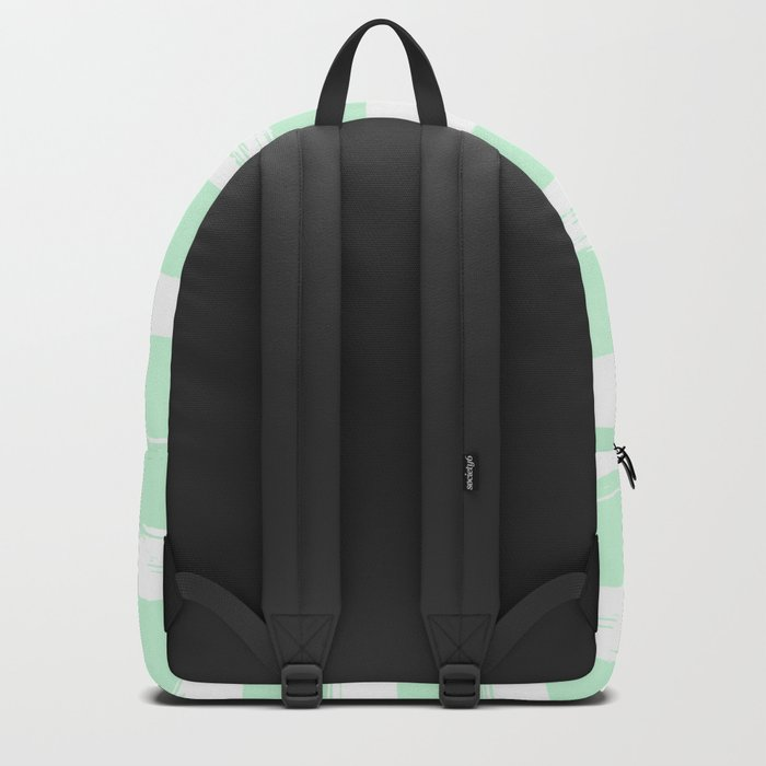 Stripes Mint Green and White Backpack