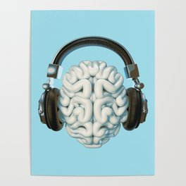 Mind Music Connection /3D render of human brain wearing headphones Poster