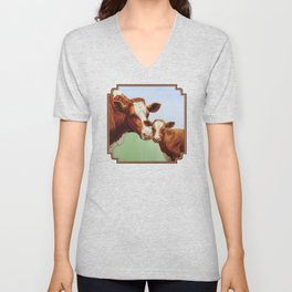 Guernsey Cow and Cute Calf Unisex V-Neck