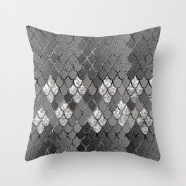 Mermaid Scales Silver Gray Glitter Glam #1 #shiny #decor #art #society6 Throw Pillow