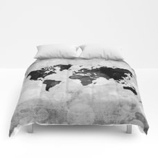 Black watercolor world map comforters by ummuhanuslu society6 world map desaturated comforters gumiabroncs Gallery