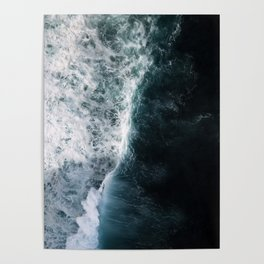 Oceanscape - White and Blue Poster