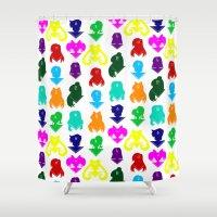sailormoon Shower Curtains featuring Sailormoon Senshi pattern by ApocalypseToo Studios