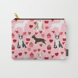 Bull Terrier valentines day cupcakes hearts love mixed coat bull terriers lovers dog breed gifts Carry-All Pouch