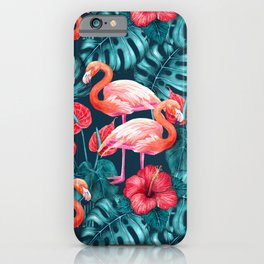Flamingo birds and tropical garden        watercolor in blue and red iPhone Case