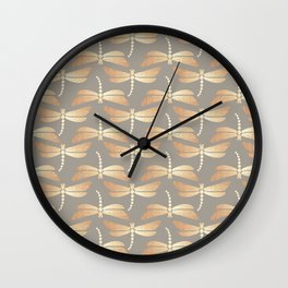 Golden Dragonflies Pattern Wall Clock