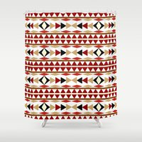 navajo Shower Curtains featuring Navajo White Pattern Art by Christina Rollo