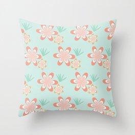 Retro Tropical Flowers Throw Pillow
