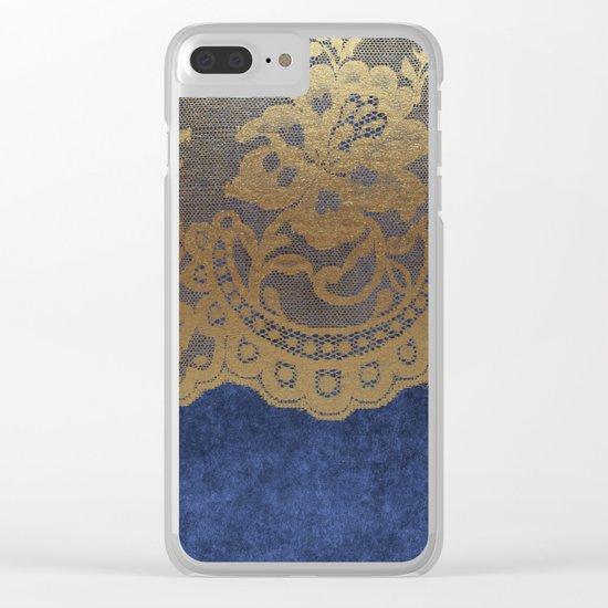 Blue Lace Velvet 01 Clear iPhone Case