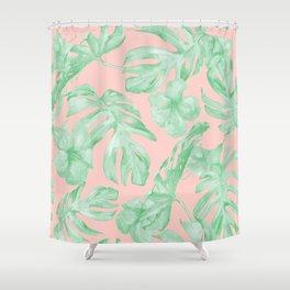 Island Life Seashell Pink + Light Green Shower Curtain