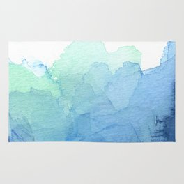 Abstract Watercolor Texture Blue Green Sea Sky Colors Rug