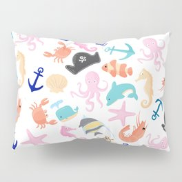Cute trendy pink teal colorful marine nautical pattern Pillow Sham