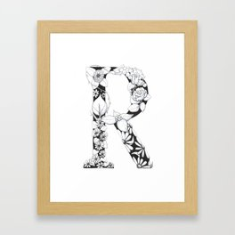 Floral Pen and Ink Letter R Framed Art Print