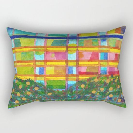 Tree In Front Of A Building Rectangular Pillow