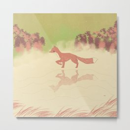 A Fox in The Pond Metal Print