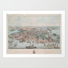 Vintage Pictorial Map of Annapolis MD (1864) Art Print