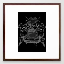 black coffee 'rise and shine'  Framed Art Print