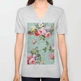 Elegant chic pink green roses flowers pattern Unisex V-Neck