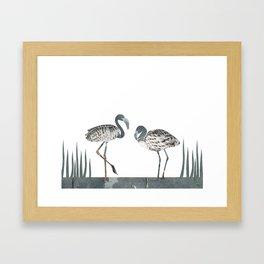 Flamingos in Silvery Blue Framed Art Print